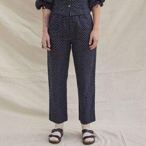 Sugar Candy Mountain Navy White Dot Linen Pants S